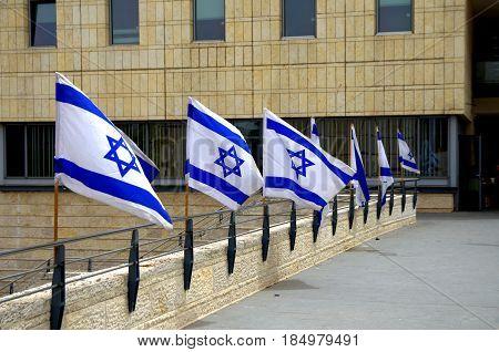 Israeli flags in Jerusalem at the Memorial day