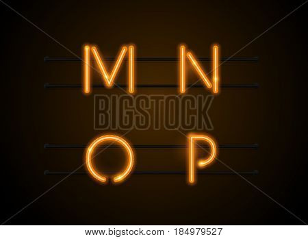 Neon Light sign Alphabet Vector Font. Type letters Neon tube background. Glowing Neon Bar Alphabet. Realistic style