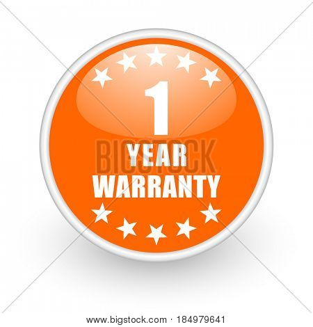 Warranty guarantee 1 year modern design glossy orange web icon on white background.