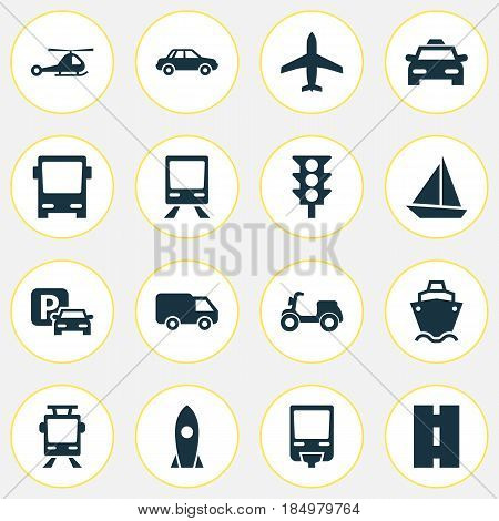 Shipment Icons Set. Collection Of Omnibus, Railway, Way And Other Elements. Also Includes Symbols Such As Light, Flight, Auto.