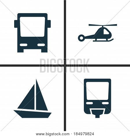 Shipment Icons Set. Collection Of Chopper, Omnibus, Railroad And Other Elements. Also Includes Symbols Such As Train, Sail, Boat.