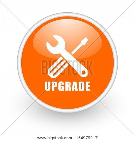 Upgrade modern design glossy orange web icon on white background.