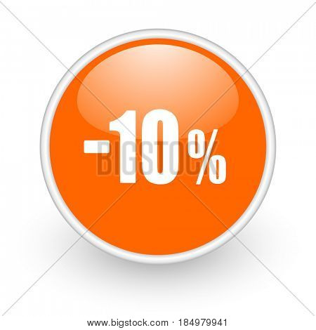 10 percent sale retail modern design glossy orange web icon on white background.