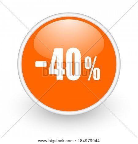 40 percent sale retail modern design glossy orange web icon on white background.