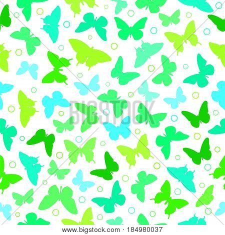 Colorful butterfly silhouette seamless background on white.