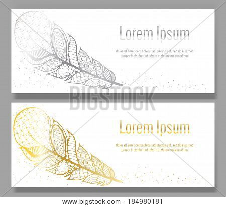Zentangle hand drawn decorative feather. Zen tangle style art. Set of two banners templates with golden sparkling feather and dust
