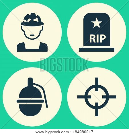 Battle Icons Set. Collection Of Bombshell, Rip, Target And Other Elements. Also Includes Symbols Such As Shot, Military, Soldier.