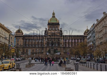 PRAGUE CZECH REPUBLIC - NOVEMBER 4 2012: Monument to St. Wenceslas and the building of the National Museum on Wenceslas Square in Prague