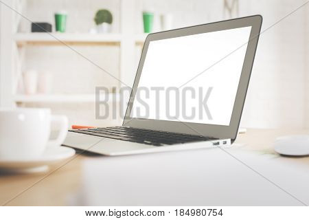 Workplace With Laptop Side