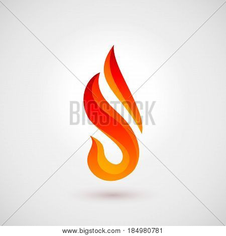 Fire Icon in Trendy Flat Style. Illustration for Web Site Design