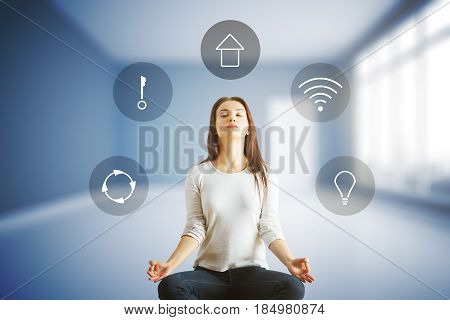 Meditating european girl in interior with futuristic interface of smart home automation assistant on a virtual screen. 3D Rendering