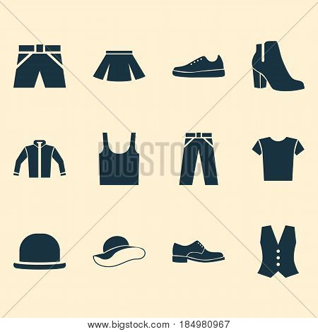 Dress Icons Set. Collection Of Female Winter Shoes, Cardigan, Elegance And Other Elements. Also Includes Symbols Such As Pants, Casual, Fedora.