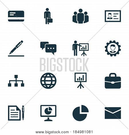 Business Icons Set. Collection Of Group, Earth, Work Man And Other Elements. Also Includes Symbols Such As Envelope, Bank, Team.