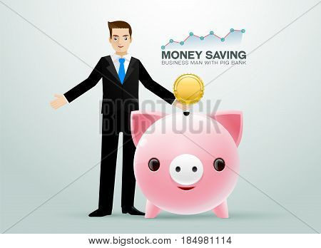 Bussiness man pig bank coin saving money and graph