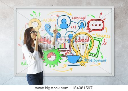 Thoughtful young woman pointing at whiteboard with business sketch. Concrete wall background. Communication concept. 3D Rendering