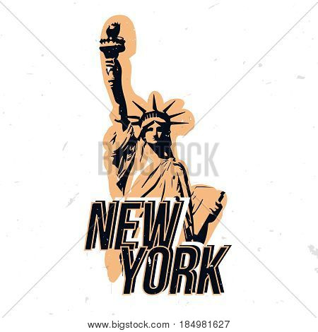 New York wear design with statue of liberty. t-shirt print, apparel design on NY theme