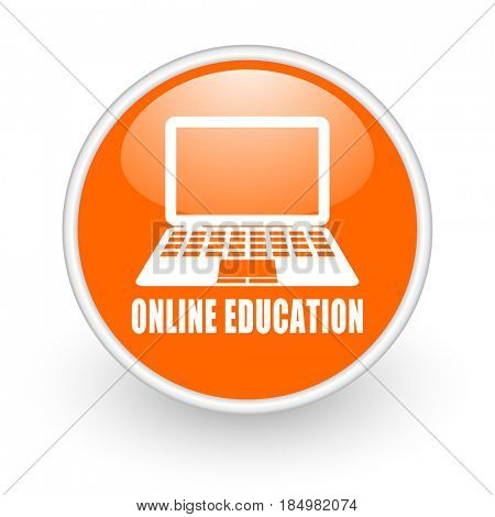 Online education modern design glossy orange web icon on white background.