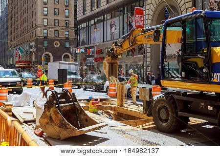 New York City, Usa - 04, 2017: Road Works In Manhattan, New York City Road Construction