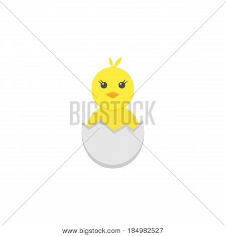 Chick hatched from an egg flat icon, religion holiday elements, Happy easter sign, a colorful solid pattern on a white background, eps 10.