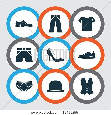 Dress Icons Set. Collection Of Pants, Panama, Heel Footwear And Other Elements. Also Includes Symbols Such As Briefs, Shorts, Waistcoat.