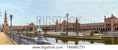 The Plaza de Espana (Spain Square) was built in Seville Spain in 1928 for the Ibero-American Exposition of 1929. Panoramic view