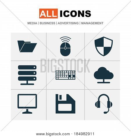Computer Icons Set. Collection Of Keypad, Tree, Defense And Other Elements. Also Includes Symbols Such As Floppy, Protection, Control.