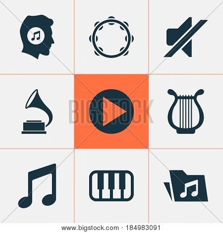 Music Icons Set. Collection Of Start, Music, Phonograph And Other Elements. Also Includes Symbols Such As Button, Lover, Start.