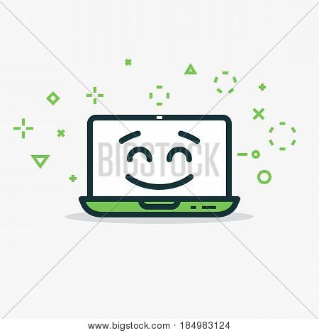 Happy laptop. Computer with happy face and smile. Line style flat illustration with abstract symbols and lines. Notebook concept. Face with eyes and eyebrows. Green colors.