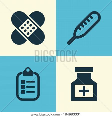 Medicine Icons Set. Collection Of Mark, Drug, Bandage Elements. Also Includes Symbols Such As Heartbeat, Record, Help.