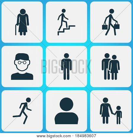 Human Icons Set. Collection Of Delivery Person, Old Woman, Beloveds And Other Elements. Also Includes Symbols Such As Mister, Avatar, Family.
