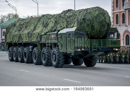 Yoshkar-Ola, Russia - May 4, 2017 PT 2PM2 Topol-M according to NATO classification - the SS-27 Sickle B - Soviet-Russian mobile ground strategic missile system at the dress rehearsal of the Victory Parade on Leninsky Prospekt Yoshkar-Ola