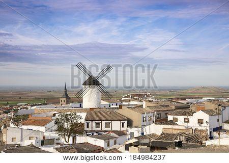 a view over Campo de Criptana town, province of Ciudad Real, Castilla-La Mancha, Spain