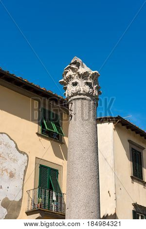 Colonna Mozza (broken column) in Lucca Toscana (Tuscany) Italy. Ancient Roman column used to signal the arrival of an ancient horse race
