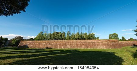 The ancient fortified walls of the city of Lucca Toscana (Tuscany) Italy Europe