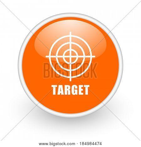 Target modern design glossy orange web icon on white background.