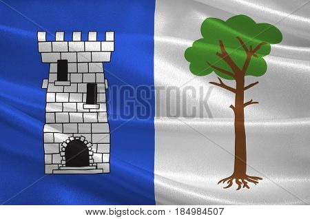 Flag of La Tour-du-Pin is a commune in the Isere department in southeastern France. 3D illustration