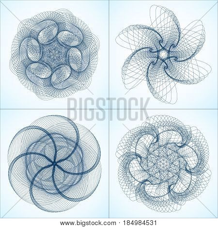 Collection of vector lines shapes. Abstract spirograph element. Vector spirograph