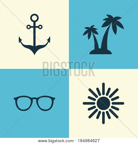Season Icons Set. Collection Of Goggles, Trees, Sunny And Other Elements. Also Includes Symbols Such As Goggles, Sunglasses, Cocos.