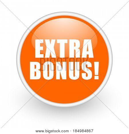 Extra bonus modern design glossy orange web icon on white background.