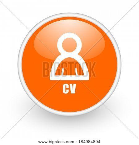 Cv modern design glossy orange web icon on white background.