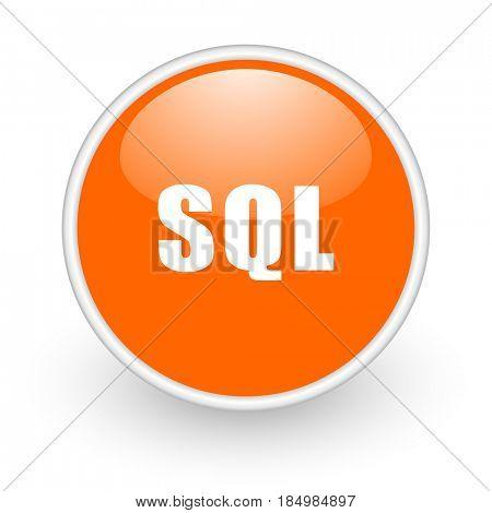 Sql modern design glossy orange web icon on white background.