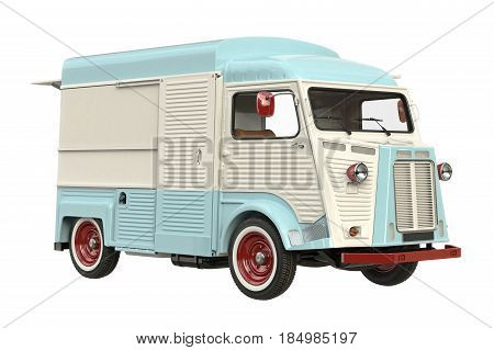 Food truck mobile beige cafe. 3D rendering