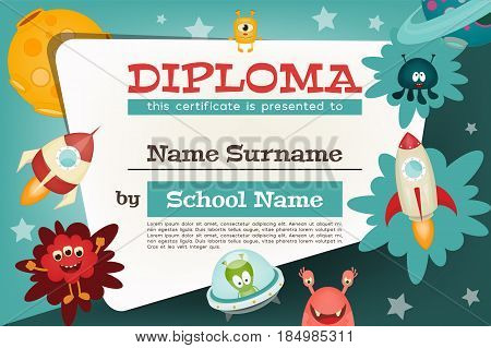 Certificate Kids Diploma. Space Theme - Cartoon Aliens and Galaxy Monsters with Shuttles Rockets and Spaceships. Vector Illustration.