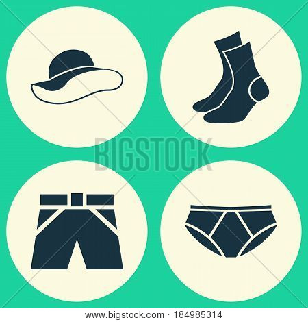 Garment Icons Set. Collection Of Briefs, Half-Hose, Elegant Headgear And Other Elements. Also Includes Symbols Such As Elegant, Shorts, Underpants.