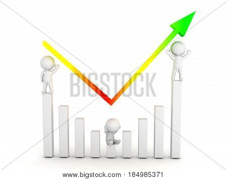 3D illustration of a chart showing how a company recovered from a recession. Image conveying the conecpt of a come back.