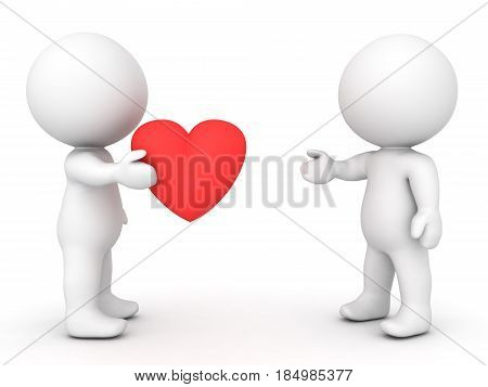 3D Character offering a cartoon red heart to another character. Image can depict any type of affection concept.
