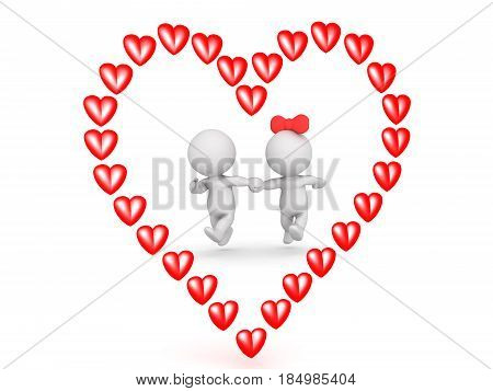 3D illustration of couple running outlined by a red cartoon heart. Image can be used in any love related presentation.