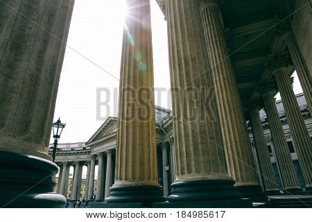 ST.PETERSBURG, RUSSIA - JUNE 16, 2016: Colonnade of Kazan Cathedral on a sunny day. Dedicated to Our Lady of Kazan, it is one of the most venerated icon in Russia.