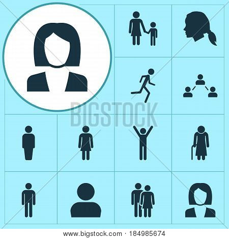 People Icons Set. Collection Of Beloveds, Old Woman, User And Other Elements. Also Includes Symbols Such As Man, User, Child.