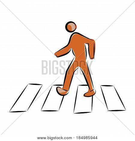 graphic design editable for your design, hand drawn pedestrian crossing continental crosswalk isolated on white background. Vector Illustration.